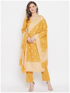SAFAA Yellow Unstitched Kurta with bottom & dupatta With dupatta Dress Material