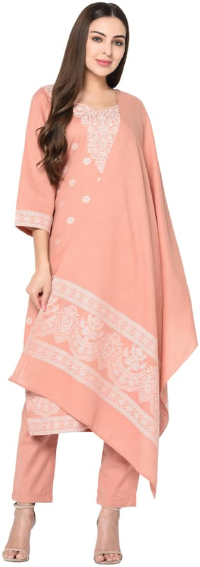 SAFAA Peach Unstitched Kurta with bottom & dupatta With dupatta Dress Material
