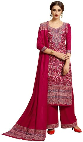 SAFAA Pink Unstitched Kurta with bottom & dupatta With dupatta Dress Material
