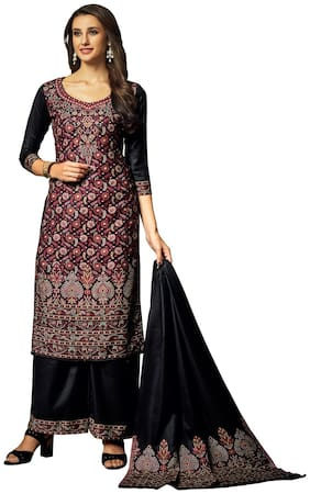 SAFAA Black Unstitched Kurta with bottom & dupatta With dupatta Dress Material