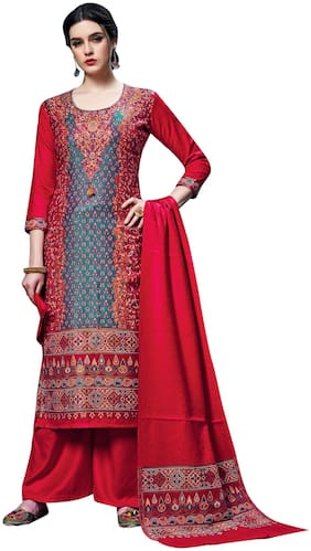 SAFAA Red Unstitched Kurta with bottom & dupatta With dupatta Dress Material