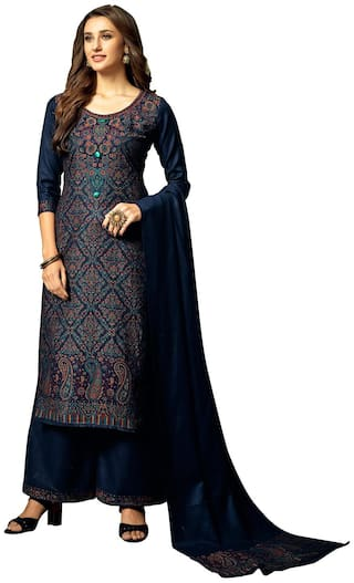 SAFAA Navy blue Unstitched Kurta with bottom & dupatta With dupatta Dress Material