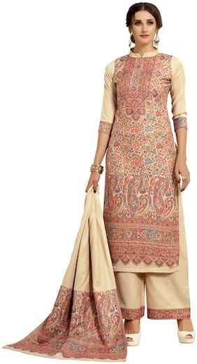 SAFAA Cream Unstitched Kurta with bottom & dupatta With dupatta Dress Material