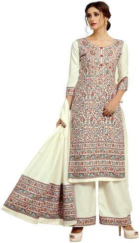 SAFAA Cream Unstitched Kurta with bottom & dupatta With dupatta Dress Material