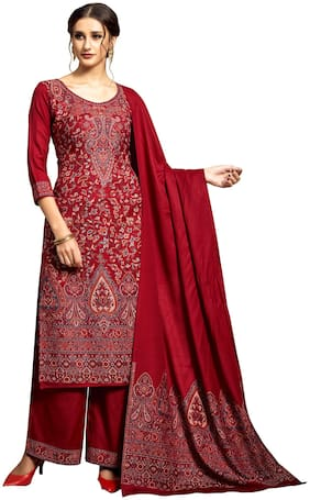 SAFAA Maroon Unstitched Kurta with bottom & dupatta With dupatta Dress Material