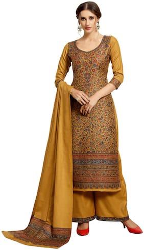 SAFAA Gold Unstitched Kurta with bottom & dupatta With dupatta Dress Material
