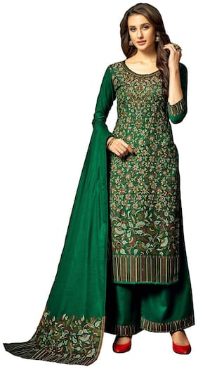 SAFAA Green Unstitched Kurta with bottom & dupatta With dupatta Dress Material