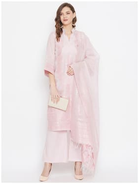 SAFAA Pink Unstitched Kurta with bottom & dupatta With dupatta Dress Material