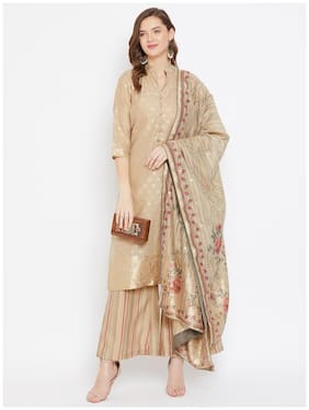 SAFAA Beige Unstitched Kurta with bottom & dupatta With dupatta Dress Material
