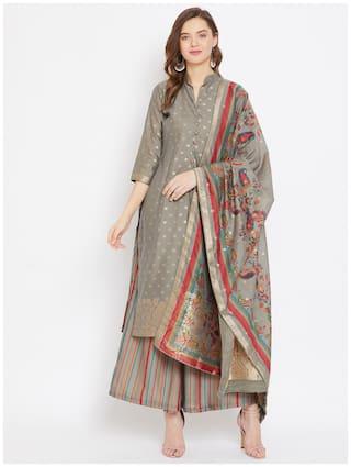 SAFAA Grey Unstitched Kurta with bottom & dupatta With dupatta Dress Material