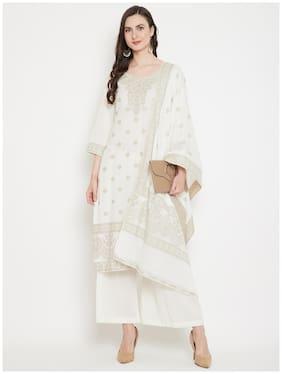 SAFAA White Unstitched Kurta with bottom & dupatta With dupatta Dress Material