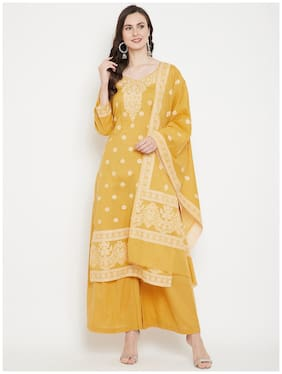 SAFAA Mustard Unstitched Kurta with bottom & dupatta With dupatta Dress Material