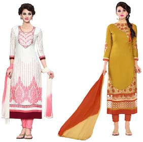 Sahari Designs White And Mustard Yellow Grace Satin Unstitched Dress Material With Embroidery Work - Pack Of 2 Suit