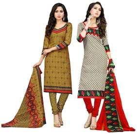 Sahari Designs Beige And Grey Cotton Unstitched Dress Material - Pack of 2 Suit