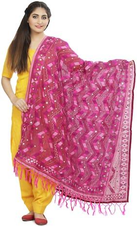 SAHEJ SUITS  Women Chanderi Embroidered Pink Dupatta