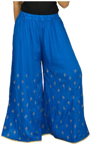 Sahila Blue Printed Small Royal Flared women Creation Booti for Rayon Palazzo qI7rIf