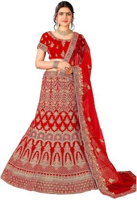 Velvet Festive;Wedding Lehnga Choli ,Pack Of Lehenga Choli & Dupatta