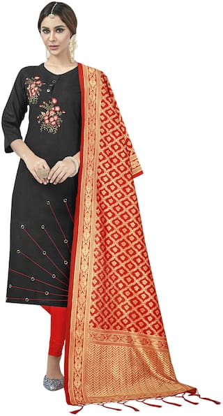 SAINOOR Black Unstitched Kurta with bottom & dupatta With dupatta Dress Material