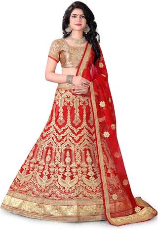 Sainoor WomenS Red Colour Heavy Zari Embrodiery Lehenga