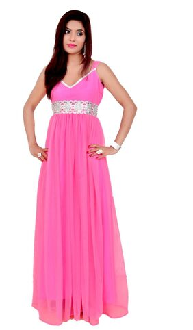 Sajili Creation Pink Net Evening Gown