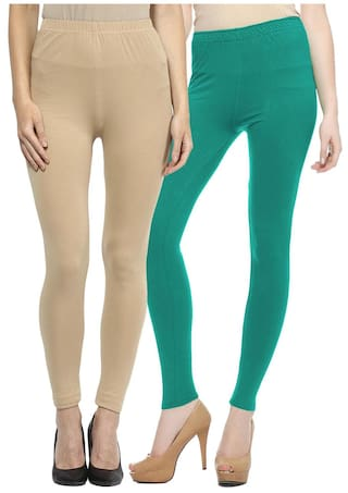 Sakhi Sang Multi Color Cotton Leggings (Pack Of 2)