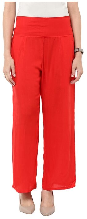 Sakhi Sang Women Straight Fit Mid Rise Solid Pants - Red