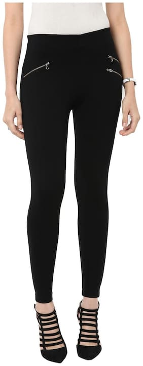Sakhi Sang Women Slim fit Mid rise Solid Jegging - Black