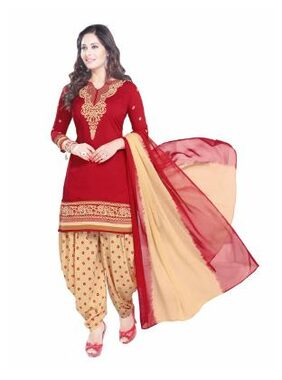 Salwar House Cotton Printed Dress Material - Red
