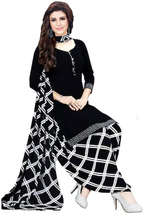 Salwar Studio Black Unstitched Kurta with bottom & dupatta With dupatta Dress Material