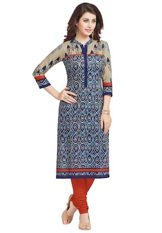 86ce42fc10 Salwar Studio Women's Blue & Grey Pure Cotton Printed Straight Fit  Readymade Kurta/Kurti