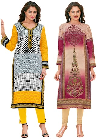 Salwar Studio Women's Pack of 2 Cotton Printed Unstitched Kurti Fabric Combo (Only Top Fabric)