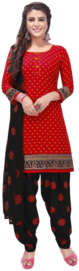 Salwar Studio Red Unstitched Kurta with bottom & dupatta With dupatta Dress Material