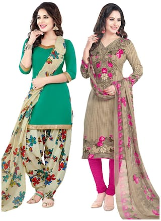 Salwar Studio Women's Pack of 2 Synthetic Unstitched Dress Material Combo-MO-1665-MO-1773