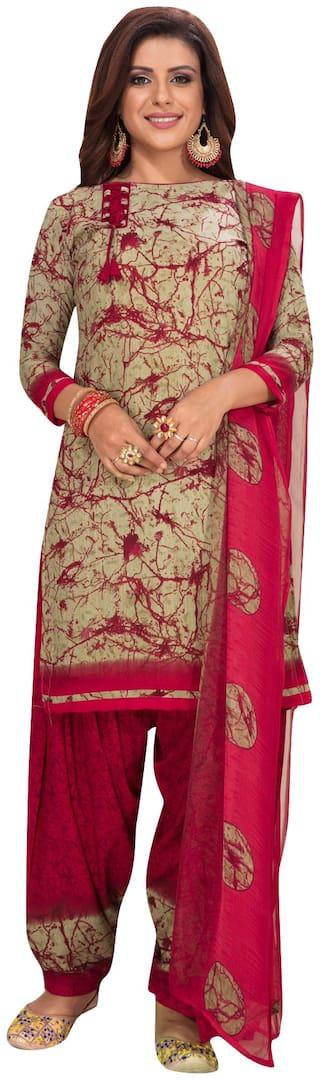 Salwar Studio Beige Unstitched Kurta with bottom & dupatta With dupatta Dress Material