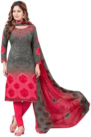 Salwar Studio Women's Grey & Pink Synthetic Printed Dress Material with Dupatta
