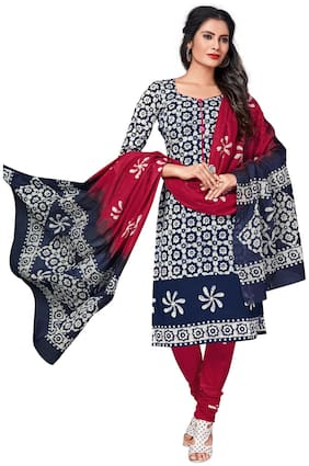 Salwar Studio Cotton Printed Dress Material for Kurta - Blue