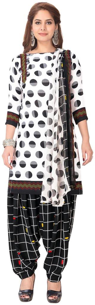 Salwar Studio White Unstitched Kurta with bottom & dupatta With dupatta Dress Material