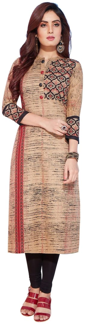 Salwar Studio Women's Beige & Black Pure Lawn Cotton Printed Unstitched Kurti Fabric (only Kurti Fabric)