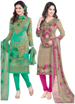 Salwar Studio Women's Pack of 2 Synthetic Unstitched Dress Material Combo-MO-1770-MO-1773