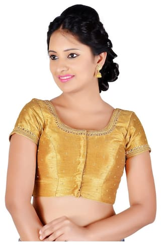 e3136861a17880 Salwar Studio Women s Gold Color Dupion Silk Readymade Embellished Saree  Blouse