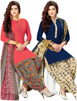 Salwar Studio Women's Pack of 2 Synthetic Printed Unstitched Dress Material Combo-MONSOON-2451-2459