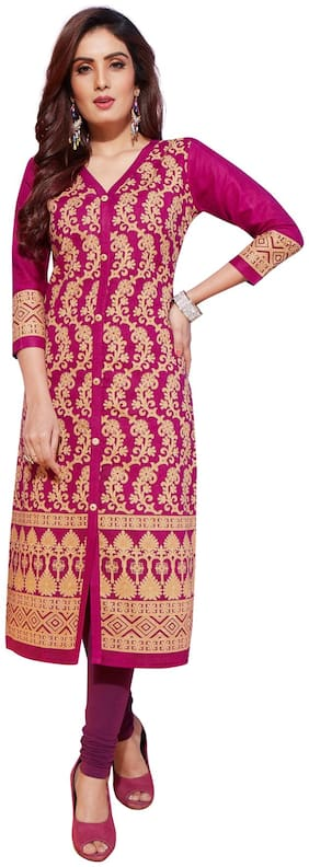 Salwar Studio Women's Rani & Beige Pure Lawn Cotton Printed Unstitched Kurti Fabric (only Kurti Fabric)