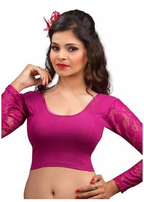 2263dc4ed82fe2 Salwar Studio Women s Magenta Cotton Lycra Strechable Readymade Saree Blouse