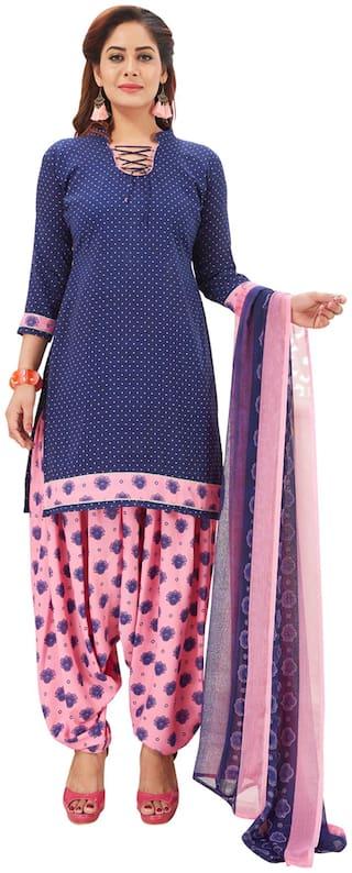 Salwar Studio Women Crepe Printed Straight Suit Kurta,Bottom & Dupatta Blue;Pink