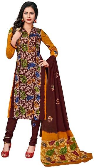 Salwar Studio Brown Unstitched Kurta fabric With dupatta Dress Material