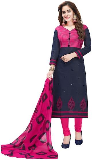Salwar Studio Women Multi Cotton Printed Unstitch Dress Material with Dupatta