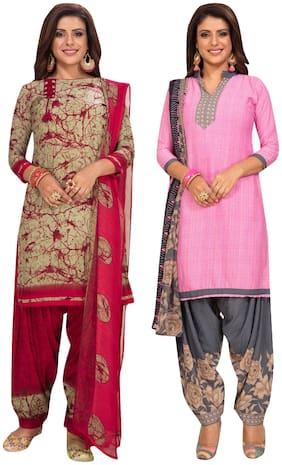 Women Crepe Dress Material Pack of 2