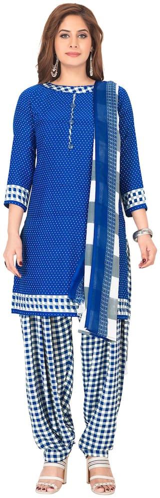 Salwar Studio Blue Unstitched Kurta with bottom & dupatta With dupatta Dress Material