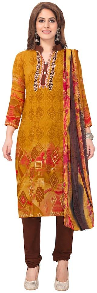 Salwar Studio Mustard Unstitched Kurta with bottom & dupatta With dupatta Dress Material