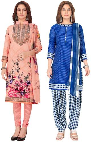 Salwar Studio Multi Unstitched Kurta with bottom & dupatta With dupatta Dress Material